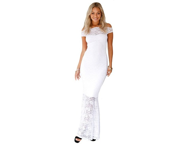 White Italian Design Evening Lace Dress For Sexy Women | free-classifieds-usa.com