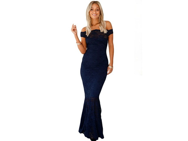 Navy Bardot Lace Fishtail Party Dress Blue Evening Dress | free-classifieds-usa.com