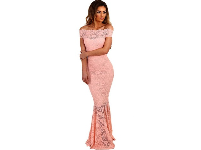New White Bardot Lace Fishtail Maxi Evening Dress | free-classifieds-usa.com