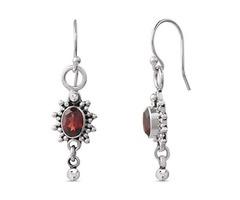 Garnet Dangle Earrings - Handmade .925 Sterling Silver Earrings - Halloween Deals 2019