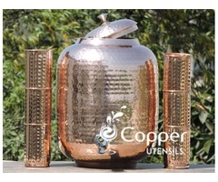 Shop for Twelve Liter Pure Copper Water Dispenser with Six Tumblers at an Amazing Price