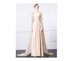 Long Sleeves Vintage Square Pleats Beading Lace Evening Dress