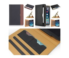 Luxury Tan Soft Leather Wallet Stand Flip Case Smart Cover With Card Slot for New iPad 9.7 Air Air2