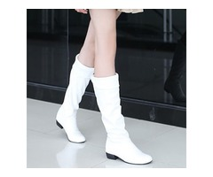 PU Pleated Purfle Slip-On Knee High Boots