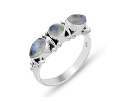 3 Stone Rainbow Moonstone Ring in .925 Sterling Silver | Thanksgiving Gifts for Her