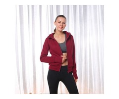 Blank zip-up women fitness sweatshirt best price ladies long sleeve front pocket hoodie