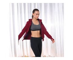Blank zip-up women fitness sweatshirt best price ladies long sleeve front pocket hoodie | free-classifieds-usa.com