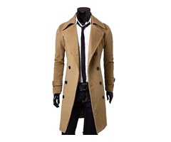 Solid Color Mens Double Breasted Trench Coat