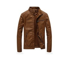 Plain Stand Collar Mens Leather Jacket