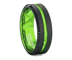 Unisex or Men's Tungsten Wedding Band. Black Matte Finish Tungsten Carbide Ring with Green Beveled E
