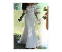 Mermaid Lace Wedding Dress with Half Sleeves
