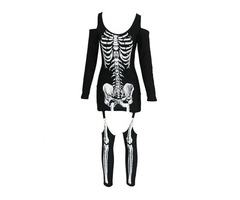 HESSZ Halloween Off-shoulder Skeleton Cosplay Dress Costume | free-classifieds-usa.com