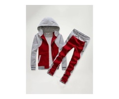 Color Block Hooded Two Piece Mens Tracksuit Outfit