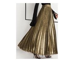 High Waist Pleated Ankle-Length Womens Metallic Skirt