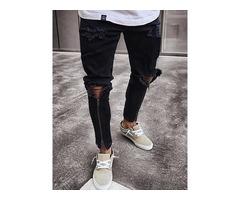 Tidebuy Hole Zipper Mens Black Skinny Ripped Jeans