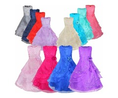 Retail New Flower Girls Dresses with Hoop Inside Flower Embroidered Party Wedding Bridesmaid Princes