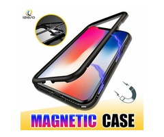 Magnetic Adsorption Metal Phone Case for iPhone Xr Xs Max X 8 Plus Full Coverage Aluminum Alloy Fram