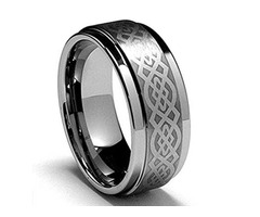 Silver Ring . Celtic Wedding Band. Laser Etched Celtic Knot Tungsten Carbide Ring.