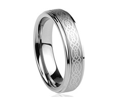 Celtic Wedding Band Silver with Laser Etched Celtic Knot. Tungsten Carbide Ring