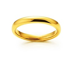 3mm - Unisex or Women's Tungsten Wedding Band. 18K Yellow Gold Plated Comfort Fit Domed Polished Rin