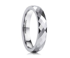 4mm - Women's Tungsten Wedding Band. Silver Tone Diamond Faceted High Polished Domed Tungsten Carbid