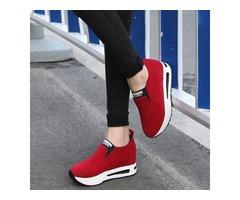 Nubuck Leather Slip-On Plain Womens Sneakers