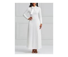 Long Sleeve Plain Bowknot Sweet Womens Maxi Dress