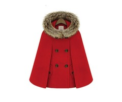 Faux Fur Wool Blends Hooded Double-Breasted Womens Cape Coat