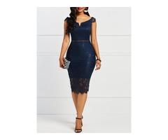 Slash Neck Hollow Lace Womens Bodycon Dress