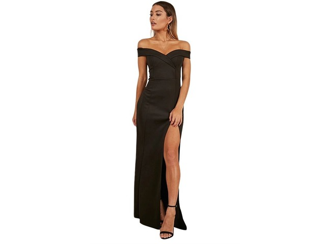 Black Off Shoulder Sweetheart Neck Side Slit Evening Dress | free-classifieds-usa.com