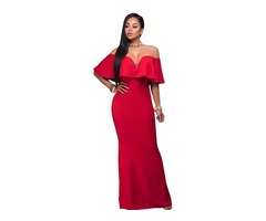 Red Ruffle Off Shoulder Maxi Party Dress for Sexy Women | free-classifieds-usa.com