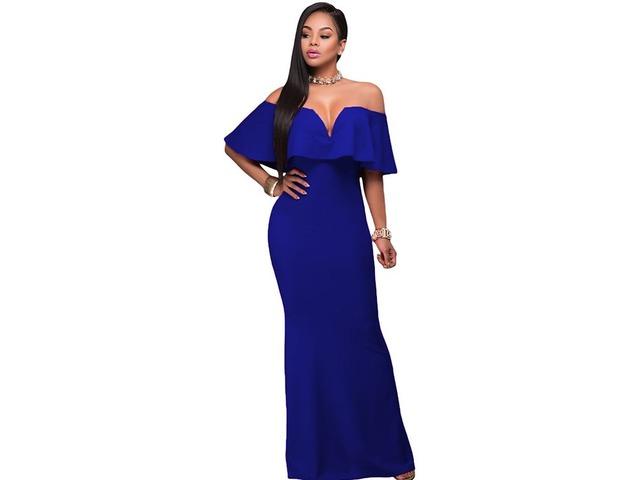 Ruffle Off Shoulder Long Evening Dress   free-classifieds-usa.com
