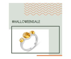 3 Stone citrine Ring in .925 Sterling Silver - Halloween 2019 Sale