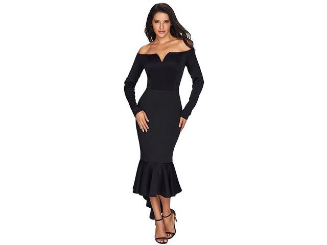Black Off Shoulder Long Sleeve Mermaid Dress   free-classifieds-usa.com