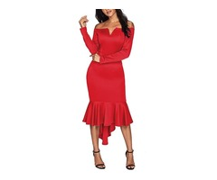 Custom Red Off Shoulder Long Sleeve Evening Dress for Sexy Women Elegnt