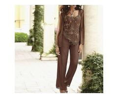 Elegant Classy Sequin Beaded Mother Of The Bride Pant Suits With Jackets Custom Made Wedding Guest D