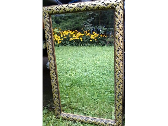 Ornate old Wood Gilt Framed Beveled Hanging Wall Mirror | free-classifieds-usa.com