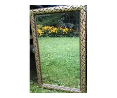 Ornate old Wood Gilt Framed Beveled Hanging Wall Mirror