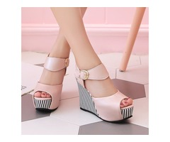 Striped Peep-Toe Wedge Buckles Sandals