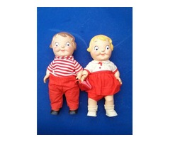 "2 Vintage  Campbell's Soup Kid Dolls 10"" Vinyl Boy & Girl with purse"