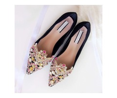 Crystal Pointed Toe Womens Flats
