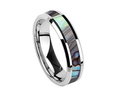 Silver Band and Multi Color Rainbow Abalone Shell Inlay Tungsten Carbide Ring (Organic colors)