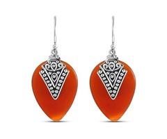 STELLAR DESIGNS Bali Inspired Tear Drop 13.6 Carat Genuine Red Onyx Earrings in .925 Sterling Silver