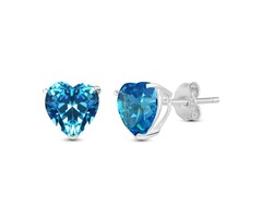 Sapphire Color Cubic Zirconia Stud Earrings - Sterling silver Jewelry