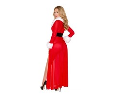 Envy Miss Claus Long Christmas Robe with G-string | free-classifieds-usa.com