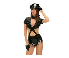 6pcs Police Woman Uniform Sexy Cop Halloween Costume