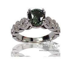 Green Round Sapphire ring