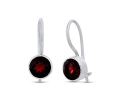 STELLAR DESIGNS Round Shape Genuine .925 Sterling Silver Garnet Dangle Earrings