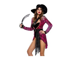 6 pcs HESSZ 2019 Ladies Hot Pink Sexy Swashbuckler Halloween Pirate Costume