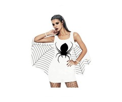 Black And White Jersey Dress Spiderweb Cosplay Costume